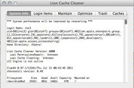 Lion Cache Cleaner 6.0 for Mac screenshot