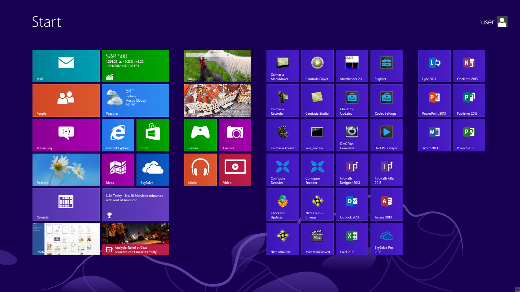 Microsoft Windows 8 Professional x64 64-bit Start screen